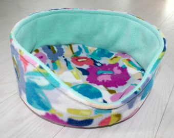 Custom Print CUDDLE CUP, Anti Pill Fleece Small Animal Bed, Removable Pad