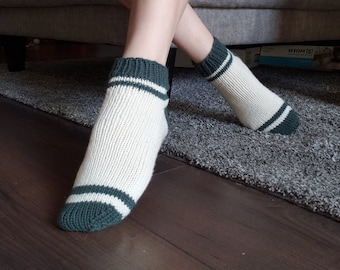 KNITTING PATTERN - The DK Sporty Shorty Socks // dk worsted weight, knit sock pattern, stripey socks, womens, mens, unisex,  stripes, stripy