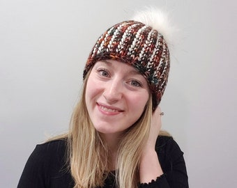 KNITTING PATTERN - The High Rise Toque // Chunky ribbed knit toque, faux fur pom-pom, winter beanie, wool hat, chunky toque, knit hat, bulky
