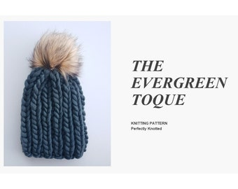 0483bcc8fad2d9 KNITTING PATTERN - The Evergreen Toque // Chunky ribbed knit toque, faux fur  pom-pom, winter beanie, wool hat, chunky toque, knit hat