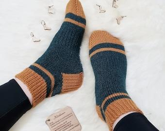 KNITTING PATTERN - The Sporty Shorty Socks // knit sock pattern, stripey socks, girls, womens, mens, unisex, stripy sock pattern, stripes