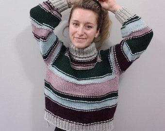 KNITTING PATTERN - The Scripey Sweater // knit sweater pattern, long sleeve, size inclusive, raglan, turtleneck, stripes, colorwork, scrappy