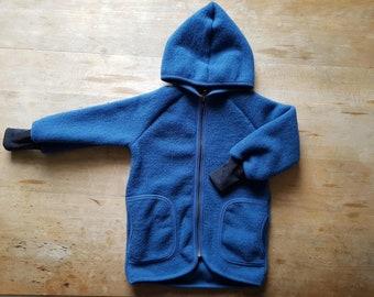 Children's wool jacket with hood organic wool fleece 98 - 128