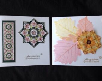 2 Handmade Teabag Folding Birthday Cards German Greetings