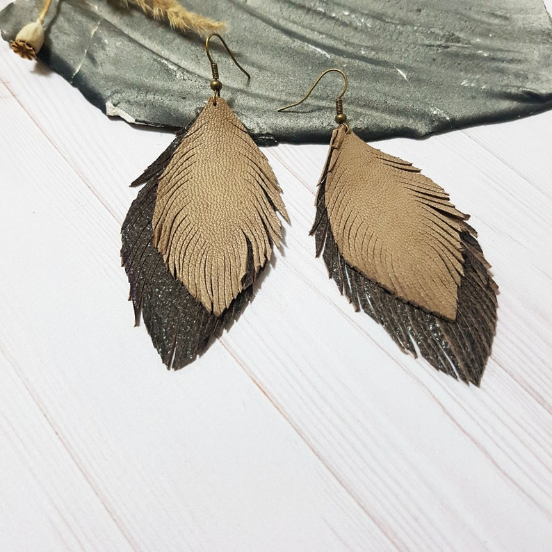 Brown Leather Feather Earrings Double Leather Earrings Statement Earrings Boho Earrings Bohemian Earrings Leaves Leather Earrings