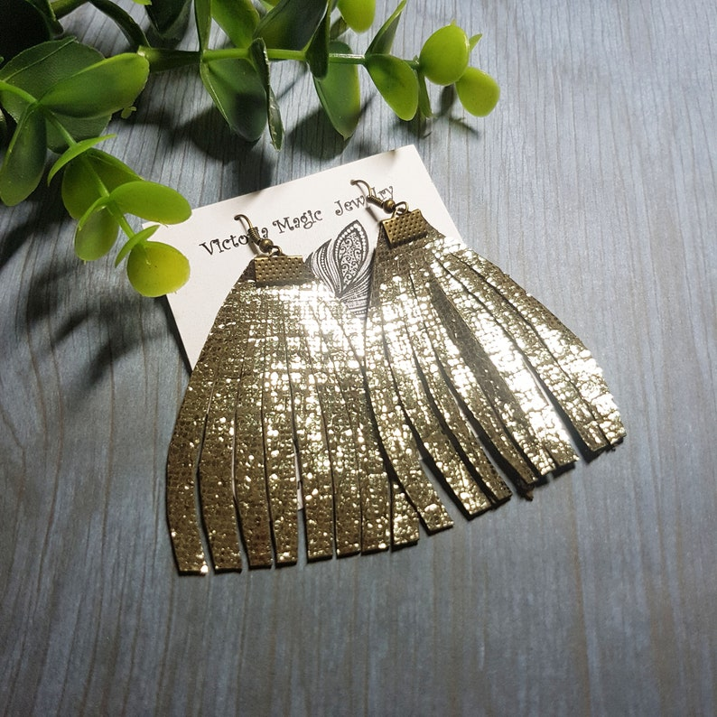 Gift for her Christmas gift Statement earrings Gold Leather earrings Feather fringe earrings Leather tassel earrings Fringe earrings