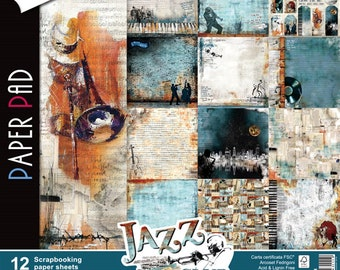 Ciao Bella Jazz Club paper pack Italian designer paper,12x12, double sided, 12 sheets, 24 designs, scrapbooking