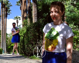 Pineapples are fat palm trees - Hand painted t-shirt