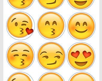 Flirty, kissing and loving Emoji Edible Image/Cupcake/Cookie Topper