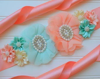 0fd574bb2b5 Maternity Sash Girl - Peach and Mint Baby Shower - Peach and Mint Gender  Reveal - Belly Sash - Flower Sash Baby Shower - Maternity Photo