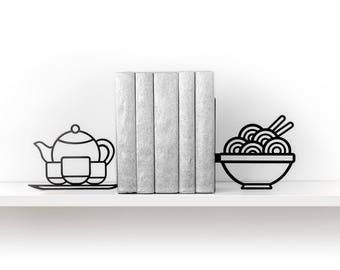 Noodle Bookends Foodie Book Ends Kitchen Decor Metal Bookends Asian Food  Ramen Pho Tea Teapot Book Shelf Housewarming Gift   Black
