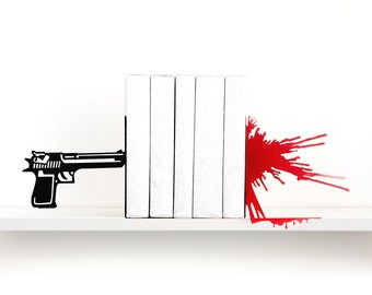 Gun & blood splatter bookends Gift for men Man cave Book ends Fathers day gift Book shelf Book lover gifts Home decor Detective - black red