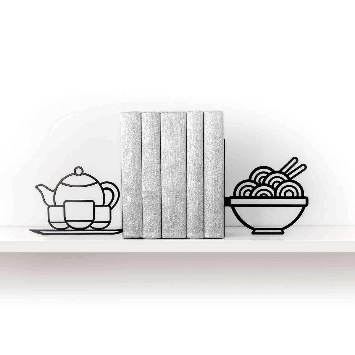 Kitchen Decor Ends: Noodle Bookends Foodie Book Ends Kitchen Decor Metal