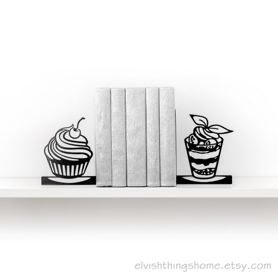 Kitchen Bookends: Kitchen Decor Bookends Dessert Book Ends Metal Bookend