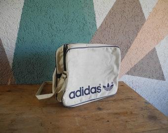 31dec19f035d Vintage Adidas Sports Bag 70s Retro White Blue