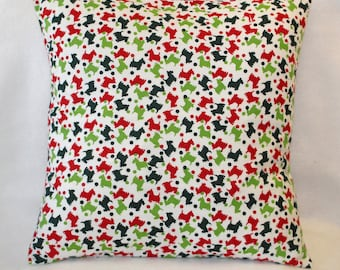Pet pillow cover, small pet bed, 18x18 pillow cover, Scottie dog fabric, cushion cover, pet bed cover, pillow covers, PetPillowsPlus