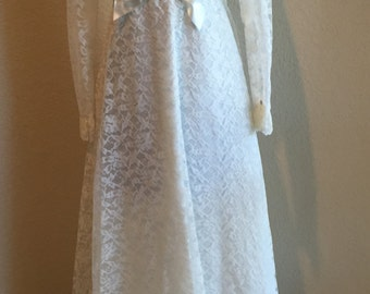 Vintage 1960s Lace Empire Waist Wedding Dress Baby Doll Style