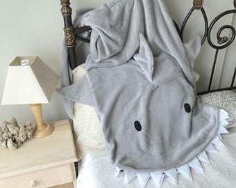 Blanket Shark Bite - Adult / Child Gray Shark Tail Grey Teen Minky Furry Fuzzy Cozy Blankie
