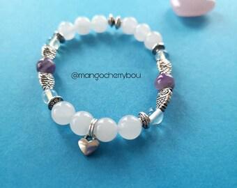 Owl bracelet, White bracelet, amethyst bracelet, sweetheart gift, gifts for insomniacs, Student gift, crystal bracelet, heart charm bracelet
