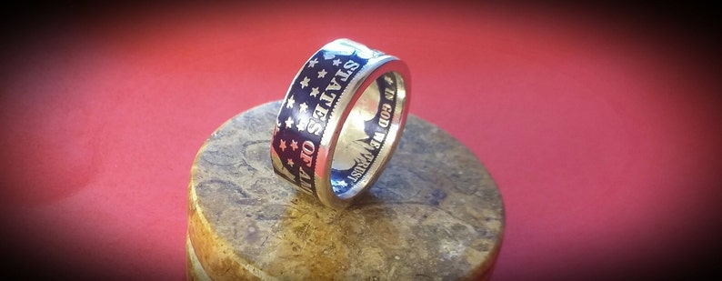 Barber Half Dollar Coin Ring  17 Colors Available image 0