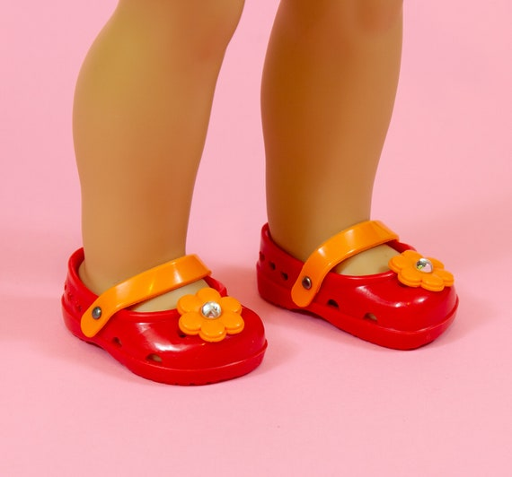 """ORANGE Strappy DOLL SANDALS SHOES fits American Girl 14.5/"""" WELLIE WISHERS"""