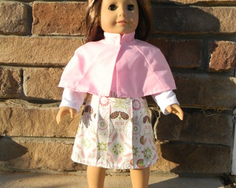 American Girl Doll Cape, Shirt and Skirt