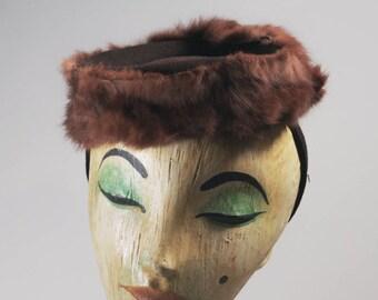 1940s hat | 1940s brown hat | brown hat | 40s brown hat | mink hat / vintage fur hat/ vintage tilt hat / tilt hat