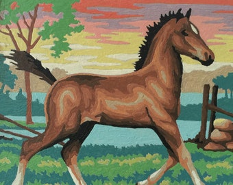 Vintage Horse Paint By Number, Vintage Paint By Number, PBN, Completed Paint By Number,