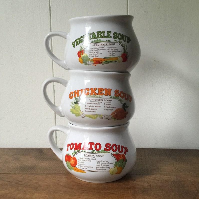 RECIPE SOUP BOWL CHICKEN SOUP VINTAGE 1970/'S RETRO CERAMIC KITCHEN
