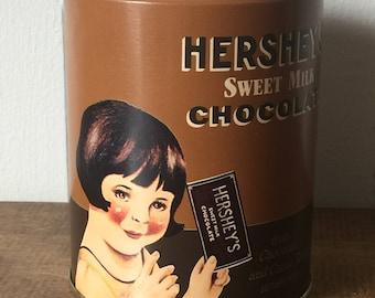 Vintage Tin, Vintage Advertising Tin, Hershey's Sweet Milk Chocolate Tin, No. 4 Sweet Milk Chocolate Girl