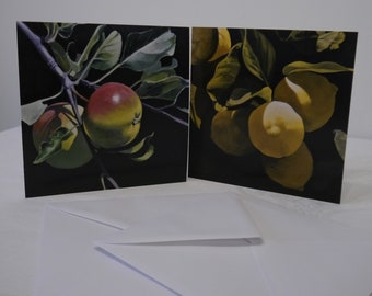 """Pack of two greeting/note cards """"Fruit Trees"""""""