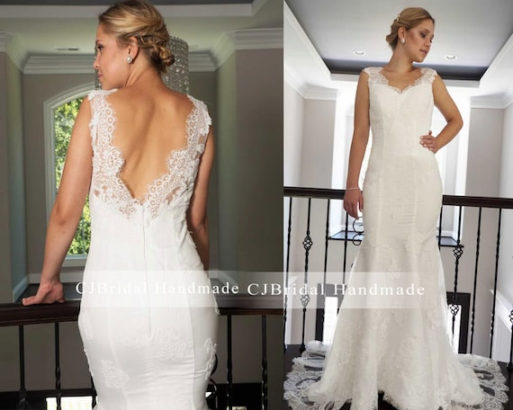Vintage Lace Backless Wedding Dress