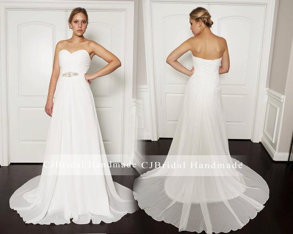 Romantic Ivory Strapless Minimalist Sweetheart Neckline Lace up Chiffon Beach Wedding Dress with Sparkly Crystal Belt Featuring Court Train