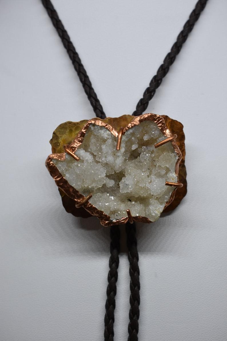 Quartz Geode and Copper Men/'s Bolo Tie
