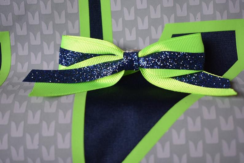 Seahawks inspired Team Colors Bow Hair Clip Barrette