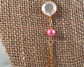 Pink Tassel Charm Necklace, Gold Tassel Charm Necklace, Tassel Necklace