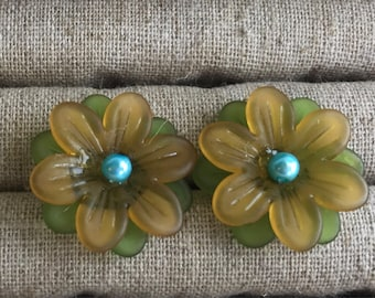 Yellow and green flower stud earrings