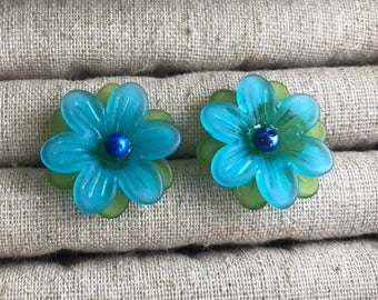 Blue and Green Flower Stud Earring, Flower Earring, Blue Stud Earring