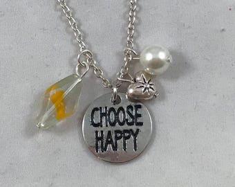 Choose Happy Necklace, Choose Happy Charm Necklace, Happy Charm Necklace, Charm Necklace