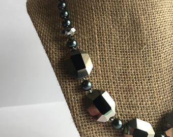 Gray and Black Real Stone necklace, Black Stone and Pearl Statement Necklace