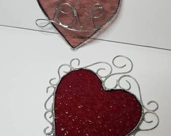 Stained glass Valentine Hearts