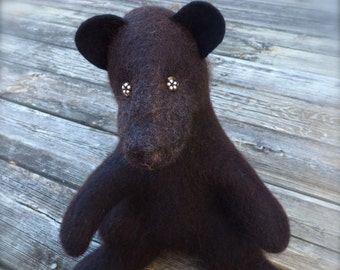 Black Bear, stuffed animal, fluffy toy, furry toy, cuddly toy, soft toy, wet felted, Baby shower gift, handmade, custom