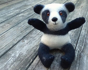 Panda, stuffed animal, fluffy toy, furry toy, cuddly toy, soft toy, wet felted, Baby shower gift, handmade, custom