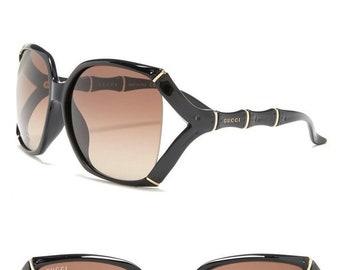 ced07cd153e GUCCI BAMBOO Square Shiny Black SUNGLASSES GG0505S