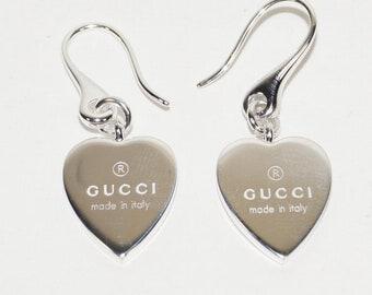 c7ce7406a3a GUCCI Trademark Heart 925 st silver DROP EARRINGS