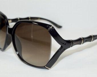 b099607bc5f2 GUCCI BAMBOO Square Shiny Black SUNGLASSES GG0505S