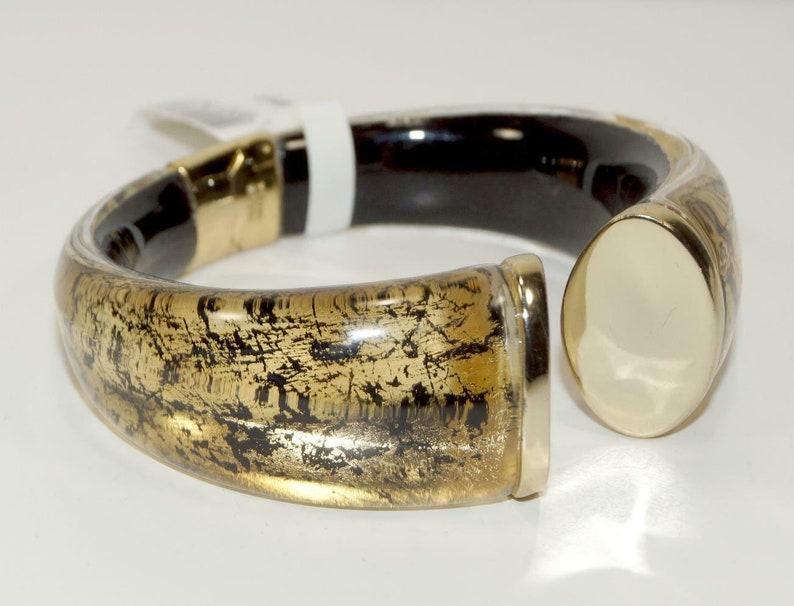ALEXIS BITTAR 10K Gold plate Lucite Hinged Cuff BRACELET