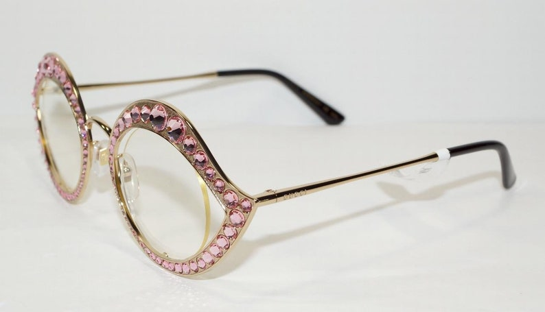 f4fbae65d7 GUCCI Cat Eye Lips Gold Pink Crystal SUNGLASSES FRAME