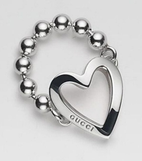 fe978e382b6ad GUCCI 925 St Silver Toggle Heart RING