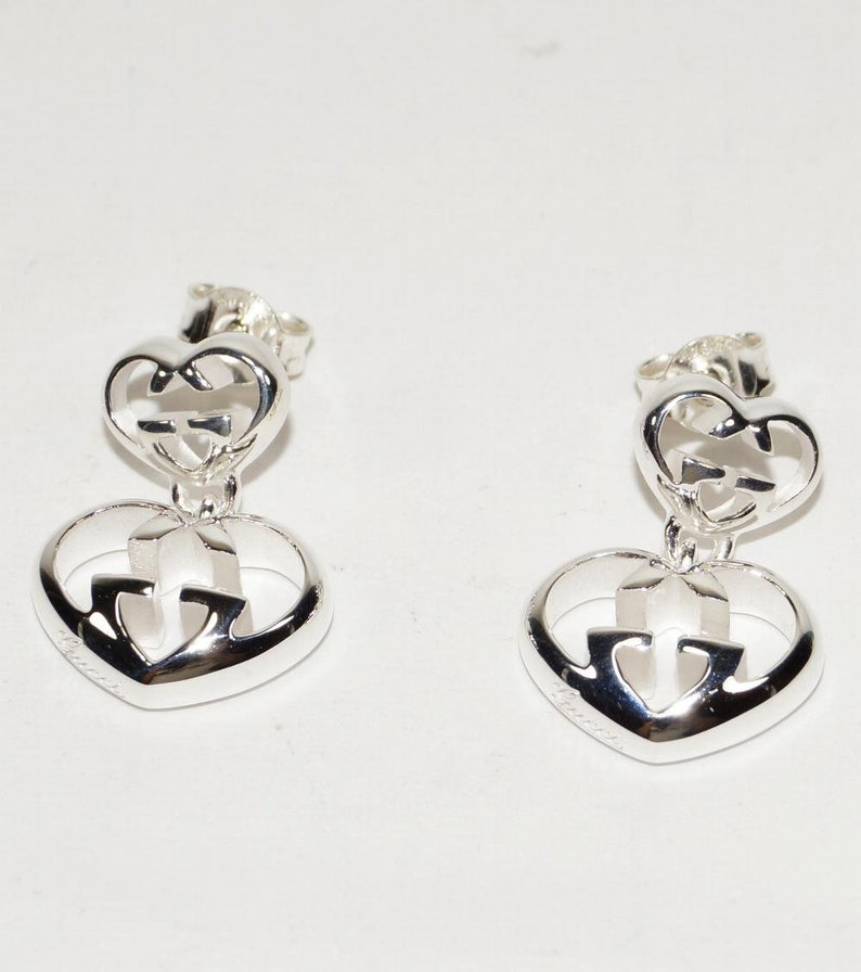 7a347b136e4 GUCCI Love Britt 925 St Silver Heart DROP EARRINGS